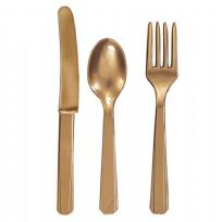 Gold Plastic Cutlery Set (24)